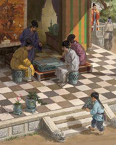 Textbook illustration of Goryeo Period Korea (men playing 'Baduk')