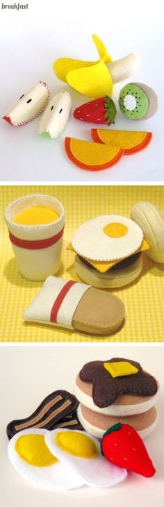 Felt food for kids play kitchen Felt Diy, Felt Crafts, Craft Projects, Sewing Projects, Crafts For Kids, Arts And Crafts, Felt Projects, Felt Play Food, Diy Toys
