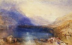 The Lake of Zug Artist: Joseph Mallord William Turner (British, London London) Date: 1843 Medium: Watercolor over graphite Dimensions: 11 x 18 in. x cm) Classification: Drawings James Abbott Mcneill Whistler, Joseph Mallord William Turner, Turner Watercolors, Turner Painting, Rock Painting, Tate Gallery, English Artists, A4 Poster, Fine Art