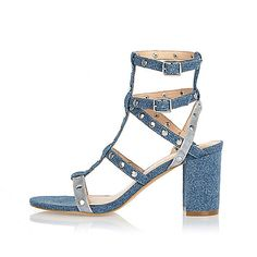 Blue denim strappy mid heel sandals - heeled sandals - shoes / boots - women