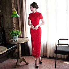 chinese cheongsam long qipao lace Red slim vintage oriental dresses women tradicional sexy party dress Size S M L XL XXL