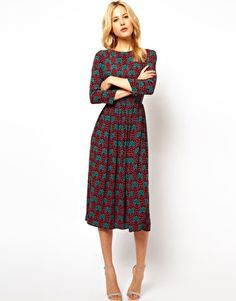 ASOS Midi Dress In Wallpaper Print - great wintry dress with black belt opaques and flats or heels