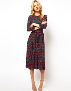 Bild 1 von ASOS – Midi-Kleid mit Tapetendruck