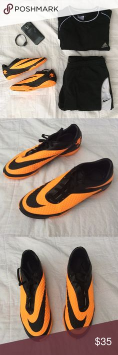 Nike Men's HyperVenom Phelon Indoor Soccer Shoes You're sure to be noticed not only for your game, but also style in these electric orange and black soccer shoes from Nike. Great condition. Small worn spot on back of right shoe Black has rubbed away. Size 7.5 Nike Shoes Athletic Shoes