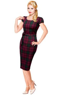 1940's 50s 60's Black Lindsay Purple Tartan Wiggle Pencil Dress Vintage Rockabilly Pin Up Party. Limited Edition & made in the UK by British Retro.:Amazon:Clothing