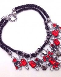 Red Gemstones Rope Necklace