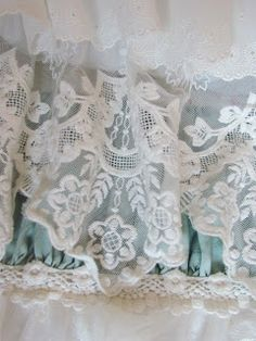 Beautiful lace overlay ~ So striking layered with the lovely Seaglass color peeking through~❥