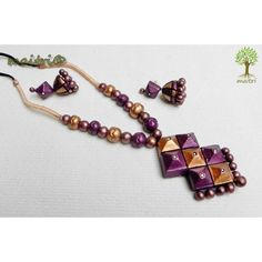 Terracotta Jewellery  -  Purple Squares