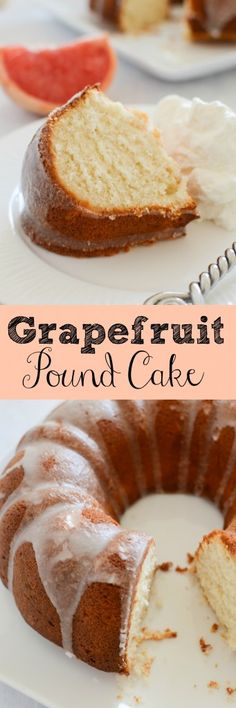 Grapefruit Pound Cake - the perfect spring dessert! Bright, delicious and full of flavor recipe that is super easy to make! Perfect with fresh fruit and whipped cream! Pound Cake Recipes, Cupcake Recipes, Cupcake Cakes, Dessert Recipes, Pound Cakes, Cake Cookies, Cookies Vegan, Top Recipes, Party Recipes