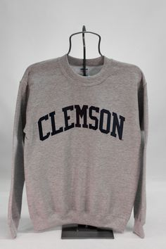 Grey Stitched Clemson Crewneck