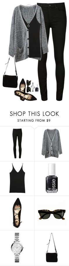 """Sweater cardigan, pointed lace up flats & pendant necklace"" by steffiestaffie ❤ liked on Polyvore featuring Citizens of Humanity, Chicnova Fashion, Donna Karan, Essie, River Island, J.Crew, FOSSIL, Proenza Schouler and Chico's"