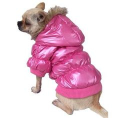 The dog coat to be seen in! Satiny shiny and pink! Trimmed with faux fur around the hood, the arms and hem are elasticised for a comfortable fit! Top seller!