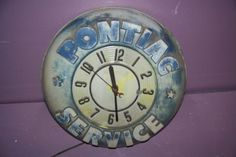 "Vintage 1950's Pontiac Service Gas & Oil 15"" Embossed Clock Sign"