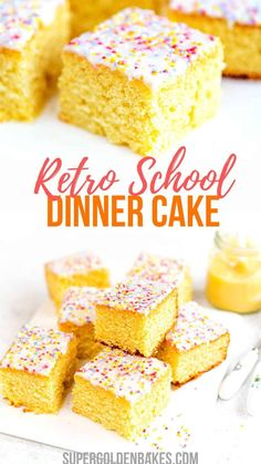 This old fashioned school cake topped with a simple glaze and sprinkles is just the simple retro bake we all need right now! Easy to make all in one bowl and delicious served plain or with warm vanilla custard. Delicious Cake Recipes, Cupcake Recipes, Yummy Cakes, Cupcake Cakes, Dessert Recipes, Cupcakes, Delicious Meals, Cake Cookies, Tray Bake Recipes