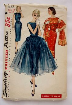 Simplicity 1452 Vintage 1950s Sewing Pattern Misses & Juniors Sheath Dress with a bateau neckline and an overskirt.  Size 14 Bust 32 1/2 Waist: 26 Hip 35 FF UNCUT at BluetreeSewingStudio on Etsy.com. jwt