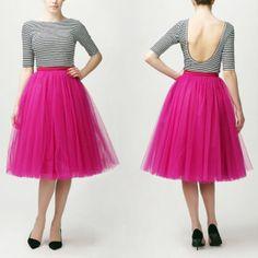 Fuchsia tutu tulle skirt, petticoat long, high quality tutu skirts - made to order (bridesmaids? Pink Tulle Skirt, Tulle Skirts, Tulle Dress, Dress Skirt, Dress Up, Pink Tutu, Tea Length Skirt, 2014 Fashion Trends, Fashion Ideas