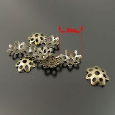 Antique Style Bronze Tone Metal Flower Beads Caps Jewelry Finding 8mm 1400pcs