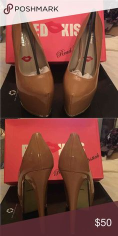 Red Kiss Tan Patent Platform Brand Red Kiss. Patent tan with gold tone metal trim. True to size. Red Kiss Shoes Platforms