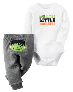 Mummy's little monster is scary cute with this coordinating bodysuit and legging set. Crafted in soft cotton monster details.