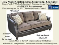 """The """"Brenton"""". Available as a sofa, loveseat, chair, king chair or sectional. Over 800 fabric options. Home Furnishing Accessories, Home Furnishings, Furniture Making, Home Furniture, Fairmont Designs, King Chair, Aspen House, Parker House, Custom Sofa"""