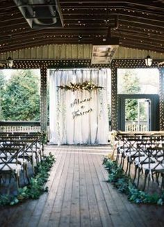 Green and White Outdoor Wedding Ceremony