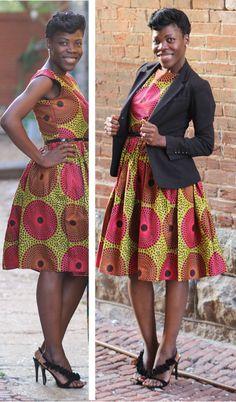 The Podot~Quistt Elegant Dress;ankara dress, African Ankara; African Red/Black Skirt; African fashion; African Print Dress; ankara