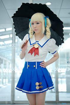 aikatsu! blonde_hair blouse blue_eyes cosplay hair_ribbons pleated_skirt princess_curls scarf_tie shaa skirt toudou_yurika twintails umbrell...