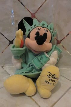 """Vintage Disney Store New York Statue of Liberty Minnie Mouse 12"""" Plush Doll Soft #DisneyStores"""