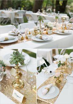gold and white table ideas @weddingchicks