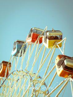Fair Rides and Blue Skies No. 2, blue, 5x7, colorful, vintage, carnival, nursery print,. $17.00, via Etsy.