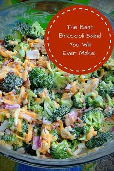 This Broccoli Salad recipe is a perfect addition to any meal. The dressing is delicious, and its very easy to make! This Broccoli Salad recipe is a perfect addition to any meal. The dressing is delicious, and its very easy to make! Summer Recipes, New Recipes, Cooking Recipes, Healthy Recipes, Dinner Recipes, Recipies, Family Recipes, Easy Summer Salads, Side Salad Recipes