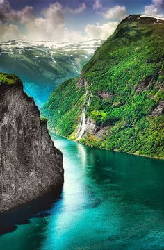 A fjord in Geiranger, a small village in Norway. Geiranger is home to some of the most spectacular scenery in the world, and has been named the best travel destination in Scandinavia by Lonely Planet. Beautiful Places In The World, Places Around The World, Wonderful Places, Around The Worlds, Amazing Places, Lofoten, Dream Vacations, Vacation Spots, Vacation Travel