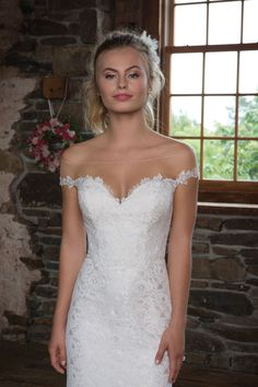 Sweetheart Gowns - Style 1113: Allover Lace Fit and Flare with Off the Shoulder Illusion Neckline