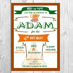 Invitation: Camping  Printable Design By Party Society