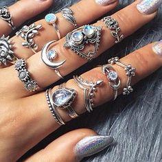 10pcs//pack Fashion Wedding Bridal Silver Turquoise Leaf Ring Womens Jewelry SH