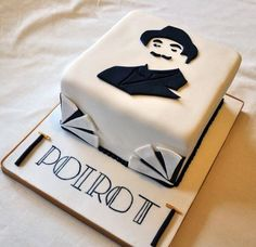 Tribute to Poirot in cake form, by Sugar Rush Cakes of Rothbury, UK (on FB and Twitter).