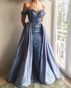 Sky Blue Lace Applique Off Shoulder Detachable Over-skirt Prom Dresses – AlineBridal Evening Dresses, Prom Dresses, Formal Dresses, Blue Lace, Beautiful Gowns, Dream Dress, Pretty Dresses, Dress Making, Ball Gowns