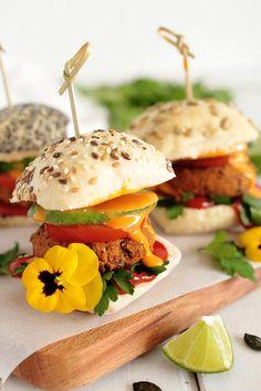 Vegan gluten free Kidney Bean and Pumpkin Seed Sliders - omit tofu