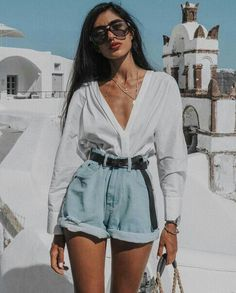 vintage feel boyfriend light denim high waisted short rolled up at the hem matc., Beach Outfits, vintage feel boyfriend light denim high waisted short rolled up at the hem matched with a dark brown leather belt and crisp white long sleeve blouse i. Mode Outfits, Casual Outfits, Fashion Outfits, Beach Outfits, Fashion Fashion, Vintage Summer Outfits, Spring Outfits, Beach Fashion, Fashion Beauty