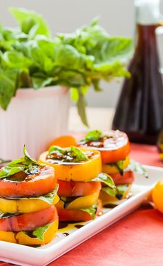 Tomato Basil Stacks: drizzle a little vinaigrette and voilà, the perfect end-of-summer salad (raw, vegan).