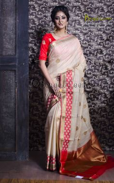 Pure Handloom Tussar Banarasi Saree in Beige and Red