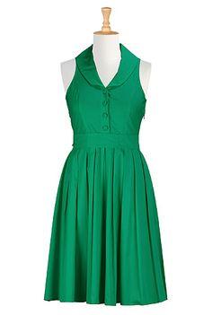 Shawl collar poplin shirtdress STYLE # CL0026750 $59.95 eShakti