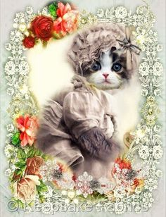 Whimsy Dust Victorian Cat Lace & Roses Quilt Block (W7