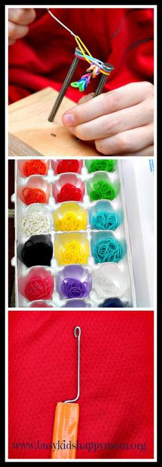 Here's a fun way to make your own loom and hook!  Just grab your rubber-bands and go!  www.busykidshappymom.org