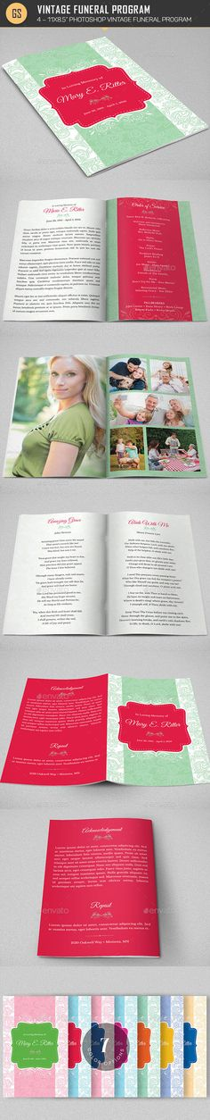 Vintage Funeral Program Template by Godserv2 Vintage Funeral Program Template for a memorial or funeral services. The vintage patterns, vibrant colors and solid shapes combine