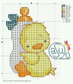 Patito Baby Cross Stitch Patterns, Cross Stitch For Kids, Cross Stitch Boards, Cross Stitch Baby, Cross Stitch Animals, Cross Stitching, Cross Stitch Embroidery, Embroidery Patterns, Broderie Simple