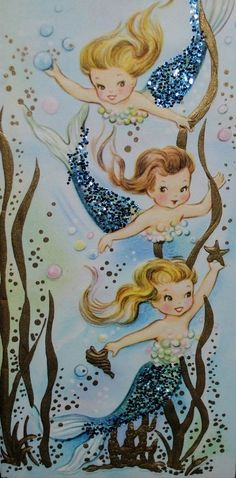 vintage mermaid birthday kids - Google Search