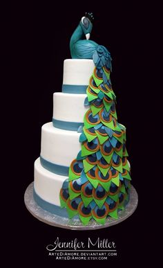 Peacock wedding cake ~ My daughter would love this!