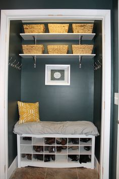 Coat closet turned into Mudroom nook: Perfect for small entry ways with any sized closet.If it doesn't have a good entry way- make one! perfect for renting or owning. Closet Nook, Entryway Closet, Closet Redo, Closet Mudroom, Closet Makeovers, Closet Ideas, Entryway Ideas, Closet Space, Small Coat Closet