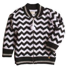 O casaco infantil de tricô feminino chevron, na cor preto e branco, com  toque super macio. Com ele a pequena estará pronta para enfrentar as  temperaturas ... 2ba87caafc